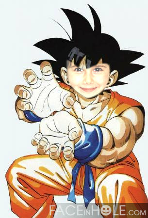 Fotomontaje de Dragon Ball. Fotoefecto Goku.